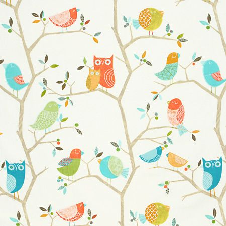 Curtain fabric what a hoot by harlequin in pastel for Childrens fabric