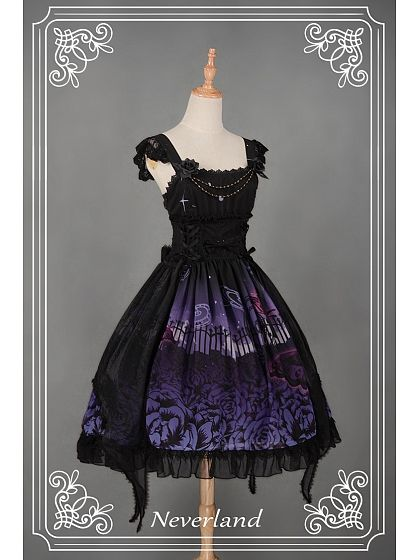 Natural Waist Butterfly Overlay Bowknot & Flower Decorated Lolita JSK Three Colors Available - Butterfly Cemetery by Souffle Song