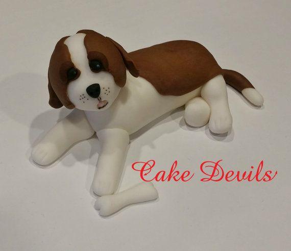 St Bernard Cake Topper Fondant Dog Cake Decoration Dog Cake St