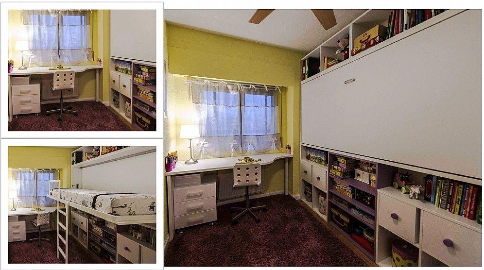 habitacion juvenil con cama abatible superior y estanterias