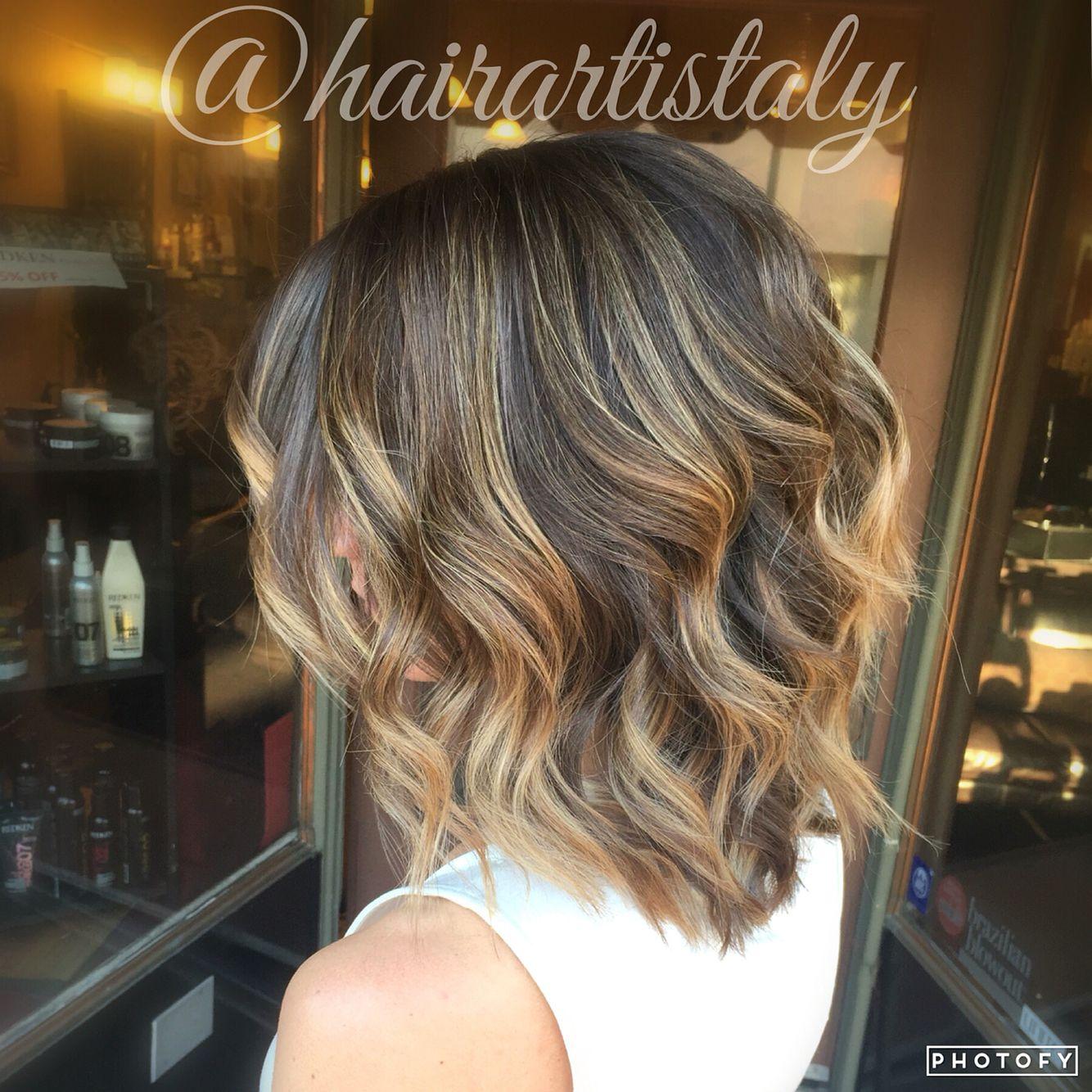 Carmel Balayage Highlights Long Bob Haircut Hair By Aly Tompkins
