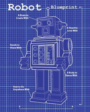 Dark blue robot blueprint robot 8x10 art print by moderngenes dark blue robot blueprint robot 8x10 art print by moderngenes 1500 malvernweather Images