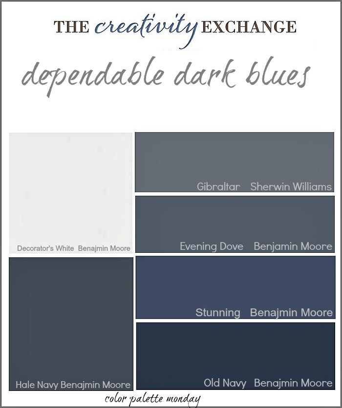 Dark Blues By Sherwin Williams In 2019 Blue Paint Colors