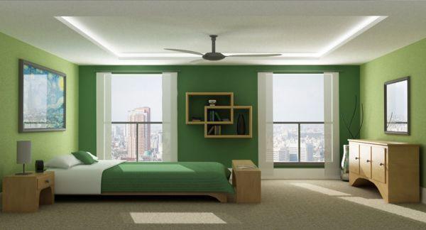minimalistsiche schlafzimmer farbpalette akzente grün schattierung