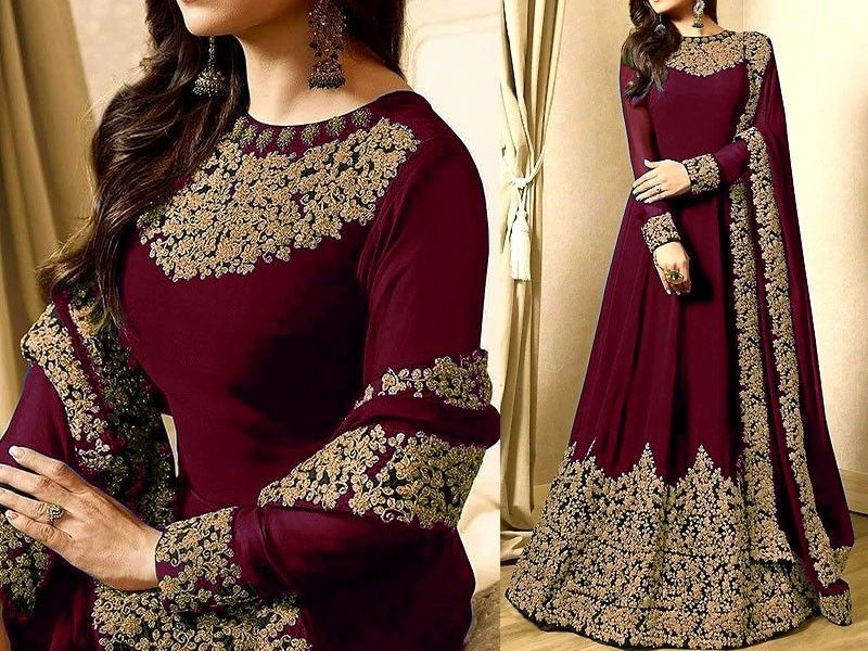 1be037254c Indian Embroidered Maroon Chiffon Maxi Dress For more details and real  pictures visit: PakStyle.pk #womensdresses #bridaldresses #weddingdresses  ...