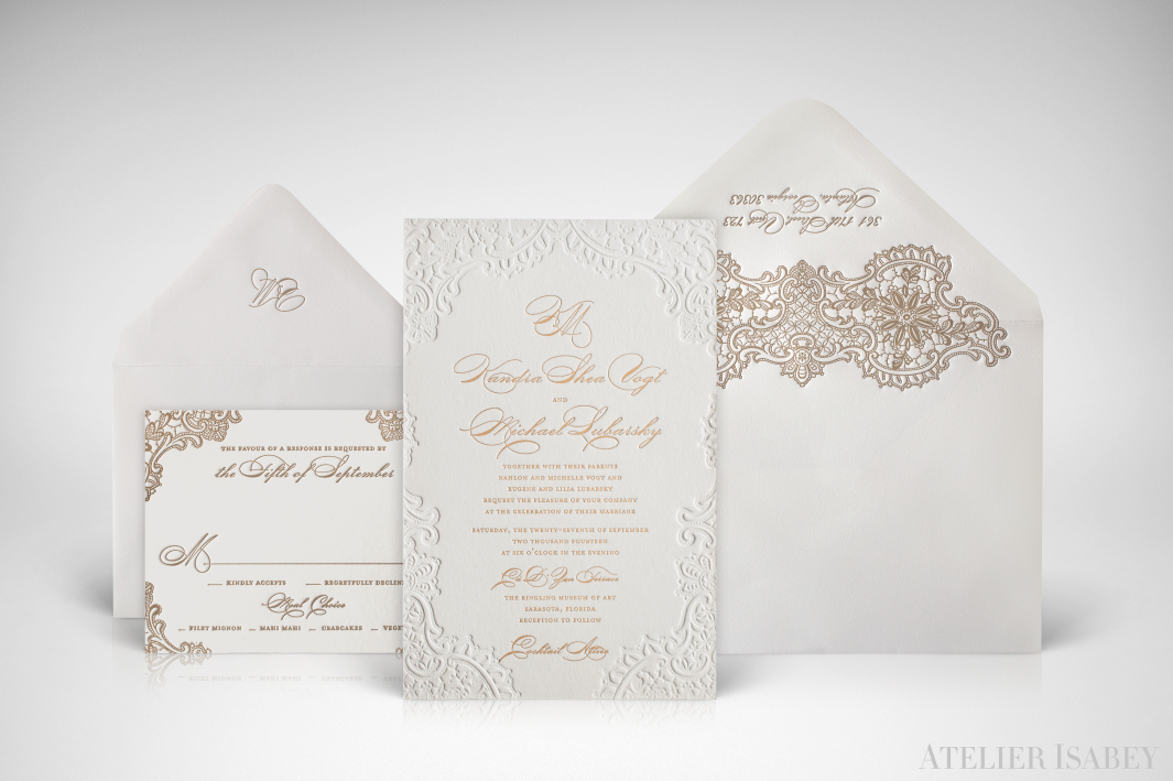 Gold Foil Stamped Wedding Invitations: Letterpress And Gold Foil Stamped Wedding Invitation With