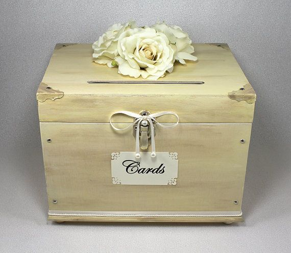 Ivory Wooden Wedding Card Box Trunk Vintage Shabby Chic Wooden Card Box Wedding Card Box Wedding Wooden Wedding