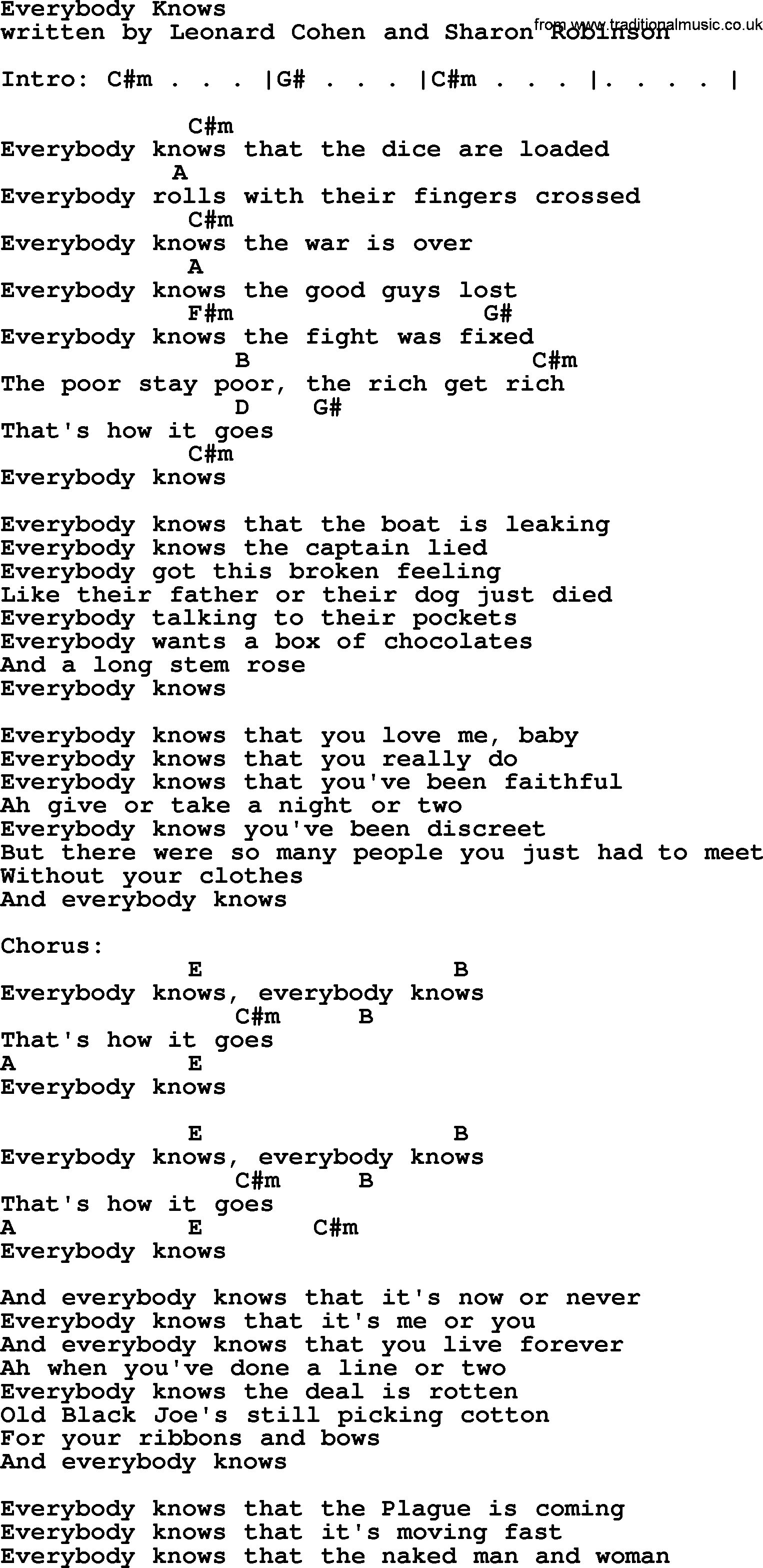 Leonard cohen song everybody knows lyrics and chords guitar leonard cohen song everybody knows lyrics and chords hexwebz Choice Image