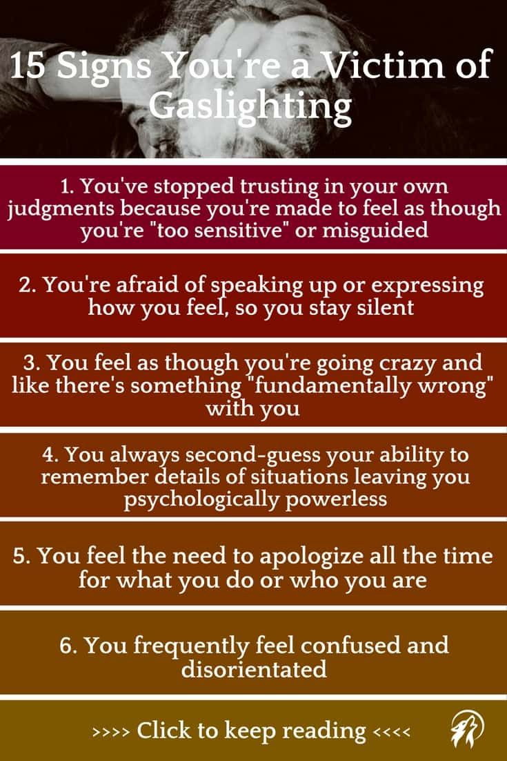 Popular gaslighting signs. Gaslighting is a form of emotional abuse that makes you doubt your & Youu0027re Not Going Crazy: 15 Signs Youu0027re a Victim of Gaslighting ...