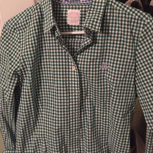 Brooks Brothers woman's plaid button down Green plaid with a light blue touch on collar and buttons and sheep. Only wore once. Great for spring or fall. Make me an offer! Brooks Brothers Tops Button Down Shirts