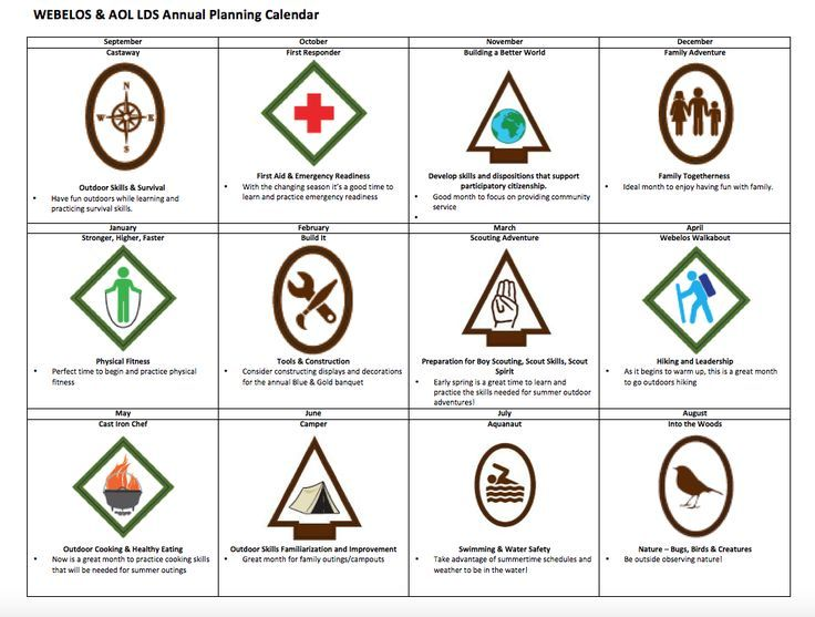 Annual Planning Calendar For Webelos/Arrow Of Light Ranks For Lds