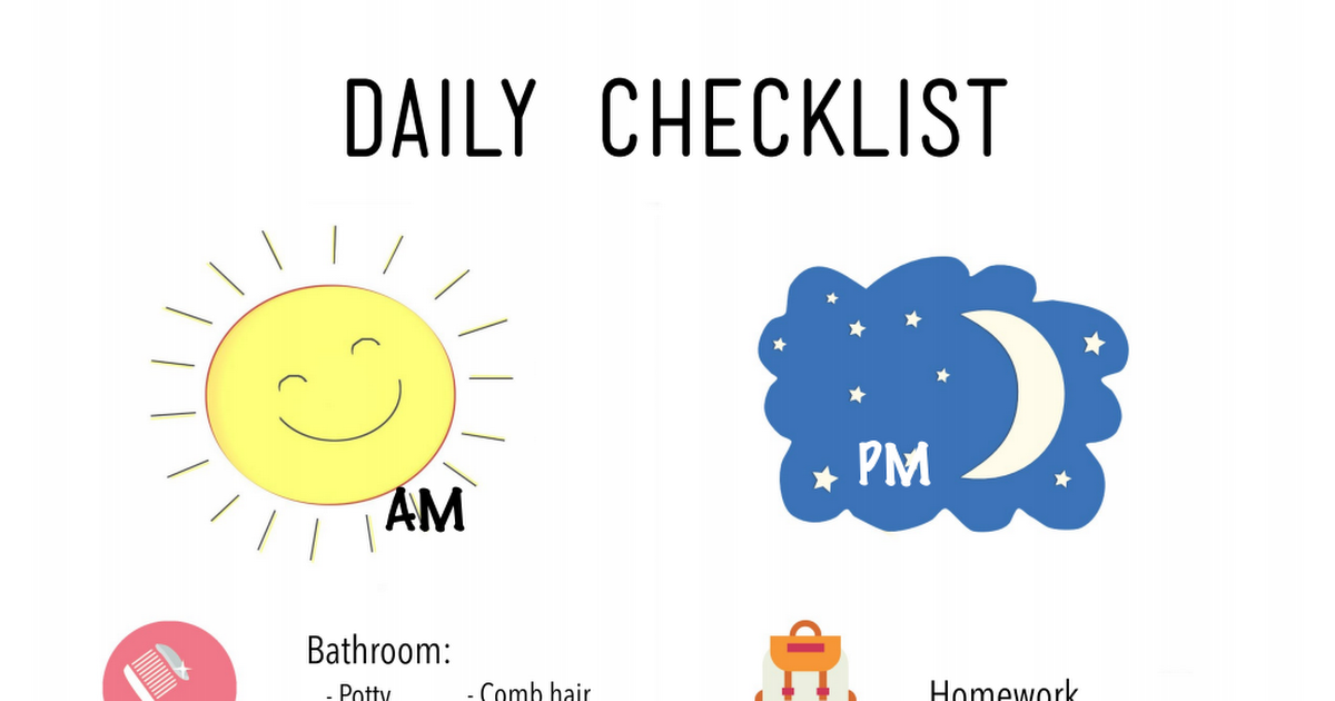 DailyChecklistPdf  Kids    Daily Checklist Pdf And