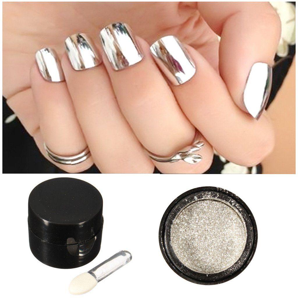 2 Boxes Silver and Gold Chrome Nail Powder | Chrome nails, Mirror ...