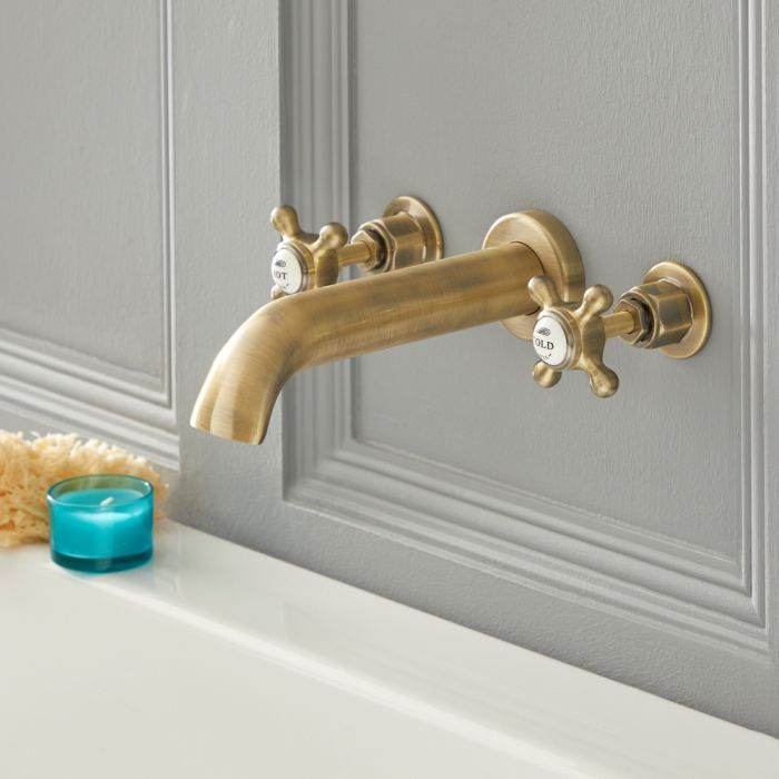 Milano Elizabeth Traditional Wall Mounted 3 Tap Hole Crosshead Bath Filler Tap Brushed Gold In 2020 Tub Faucet Wall Mount Faucet Bathroom Wall Mount Tub Faucet