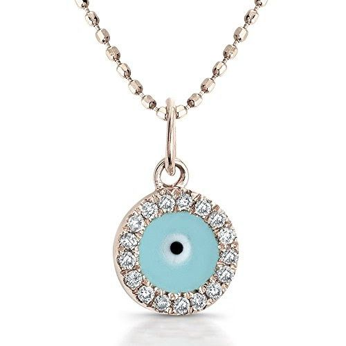 Diamond and Light Blue Enamel  Pendant (1/5cttw, JK, I2-I3)