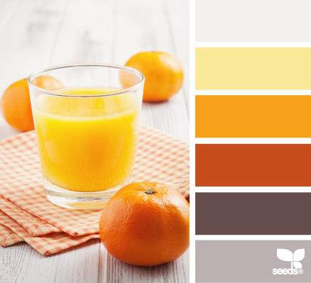 Värikartta: oranssi, johon lisätty samansävyinen appelsiiniaiheinen kuva