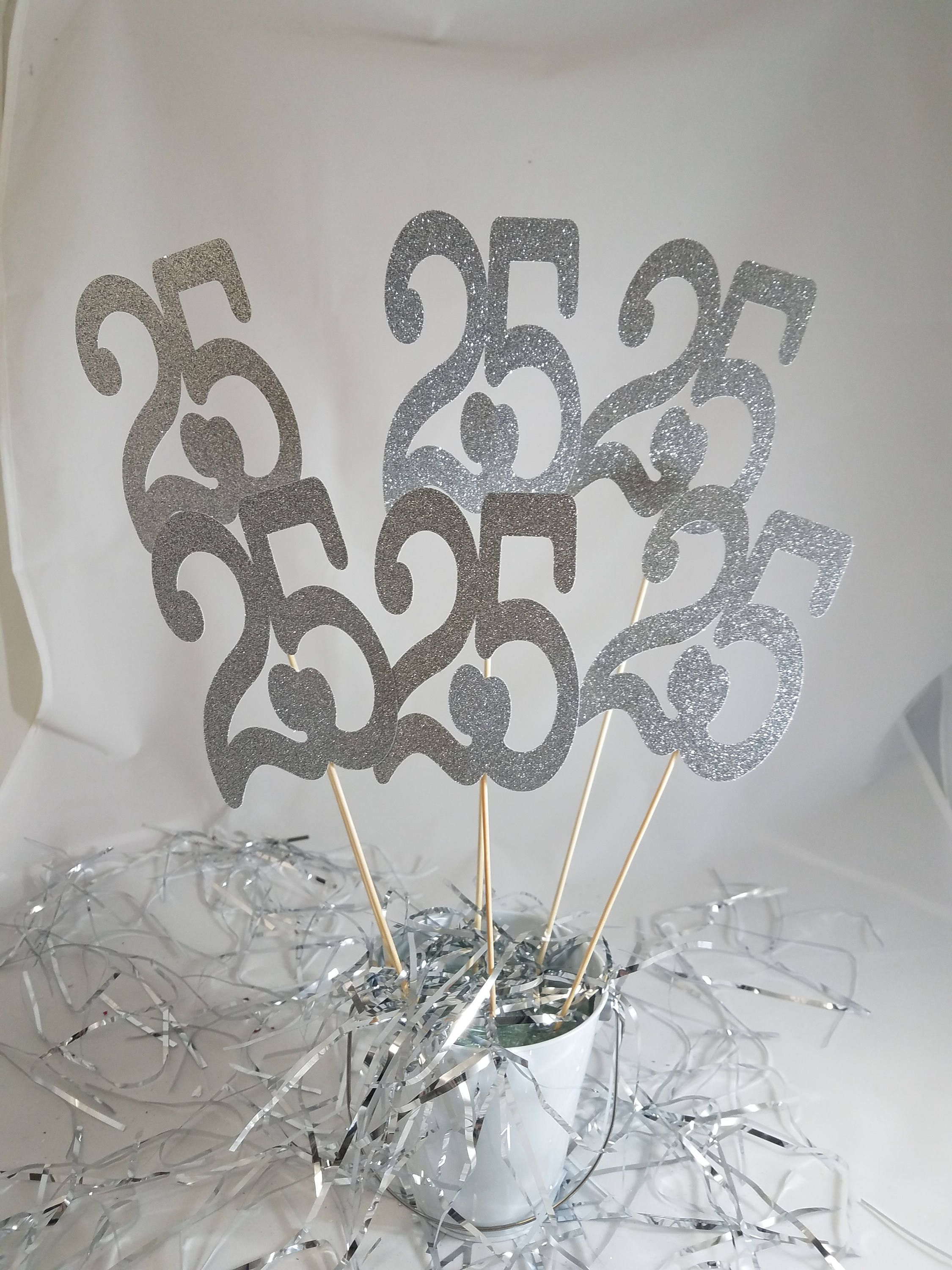 6 Large 25th Glitter Centerpieces Birthday Anniversary Any Year Cake Toppers Silver