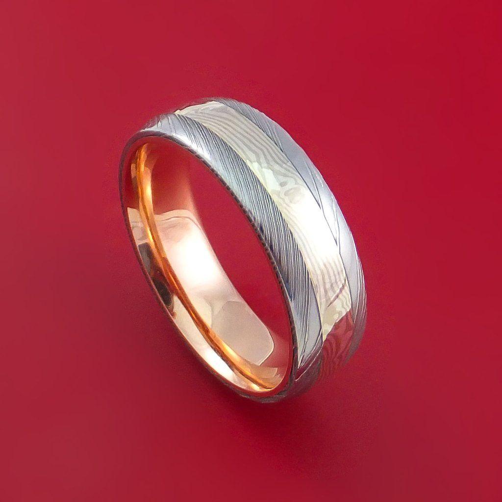 mokume gane wedding bands Damascus Steel and Mokume Gane Ring with 14k Rose Gold Sleeve Wedding Band Custom Made