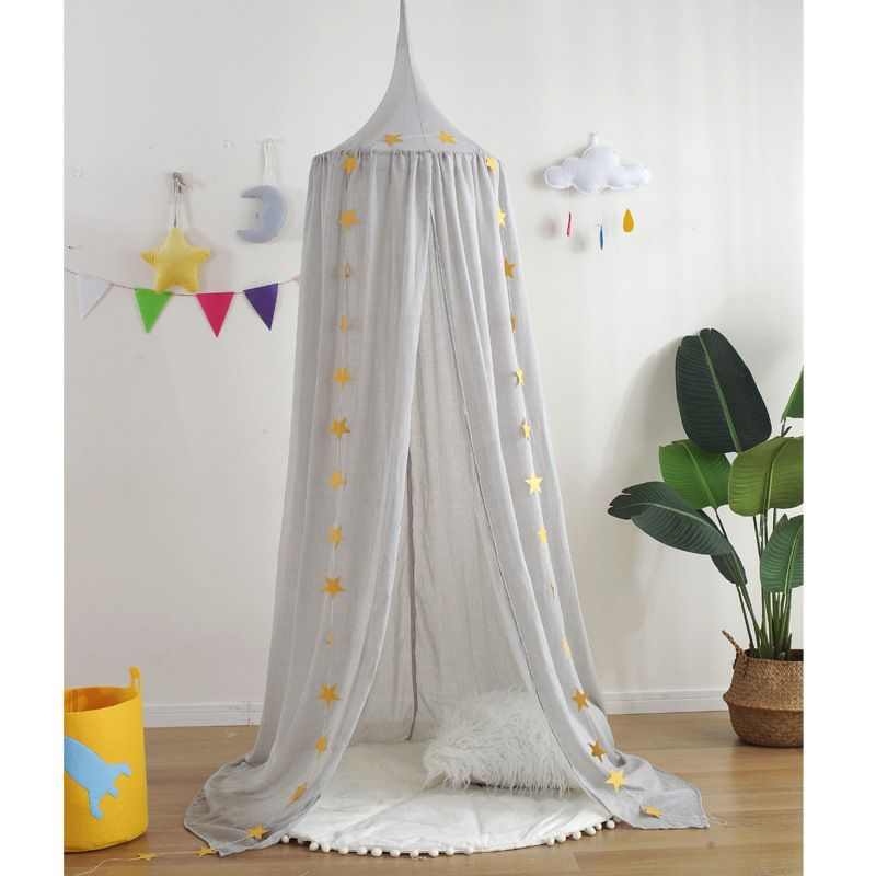 Photo of Breathable Linen Muted Color Tip Round Dome Mantle Tent Bed Canopy for Baby Playroom