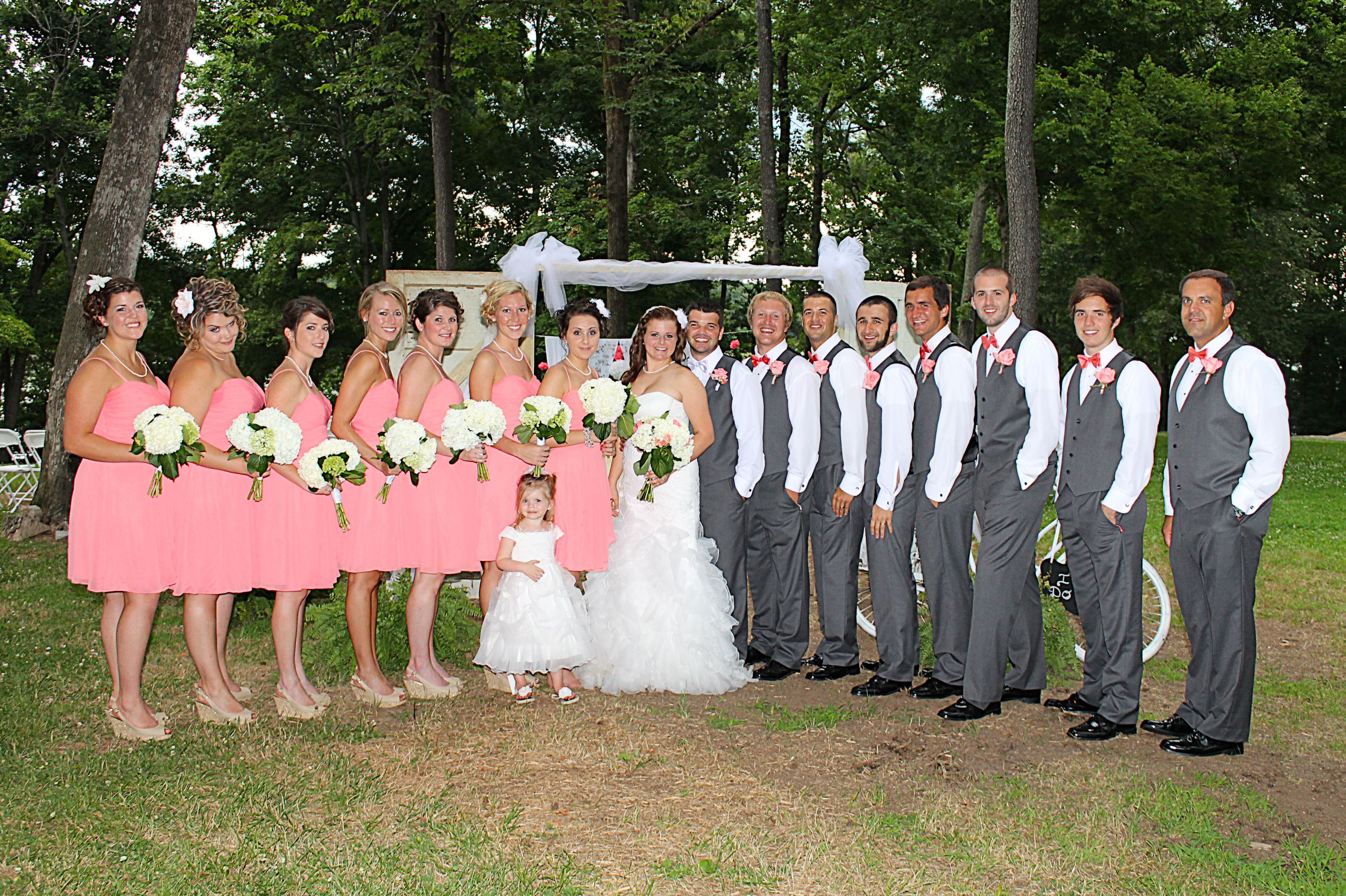 3ad939d0934 Coral and grey wedding party