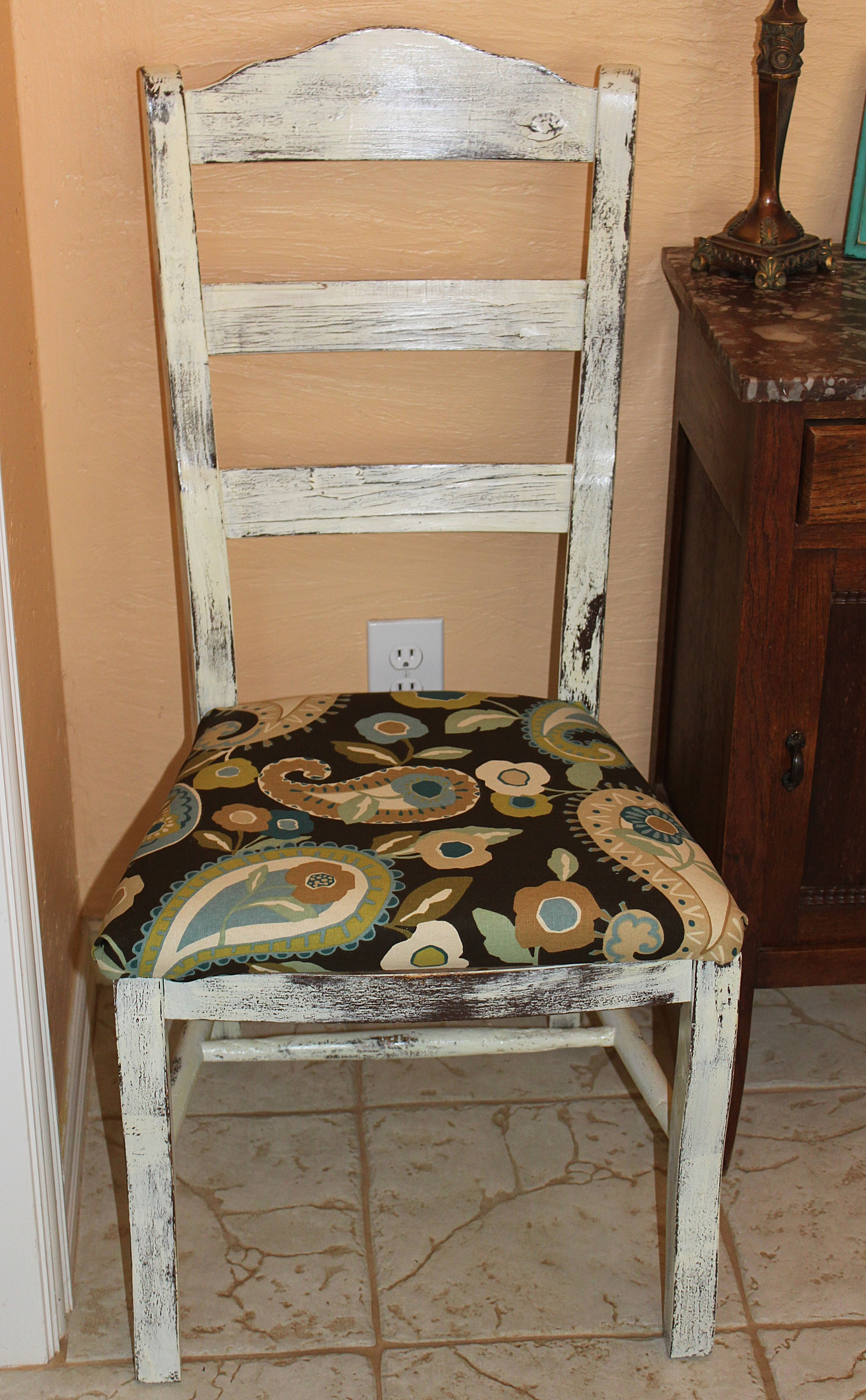 Old Ladder Back Chair painted white shabby chic over the original