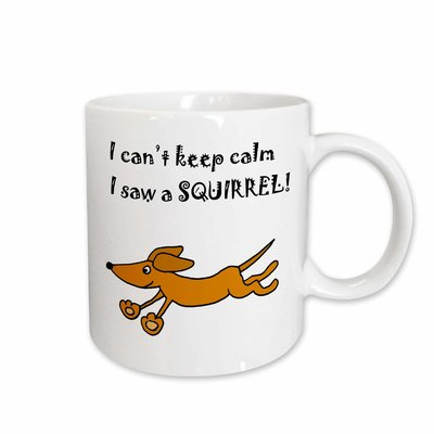 East Urban Home Funny Dachshund Dog Chasing Squirrel Coffee Mug Dog Chasing Squirrel Funny Dachshund Dachshund Dog