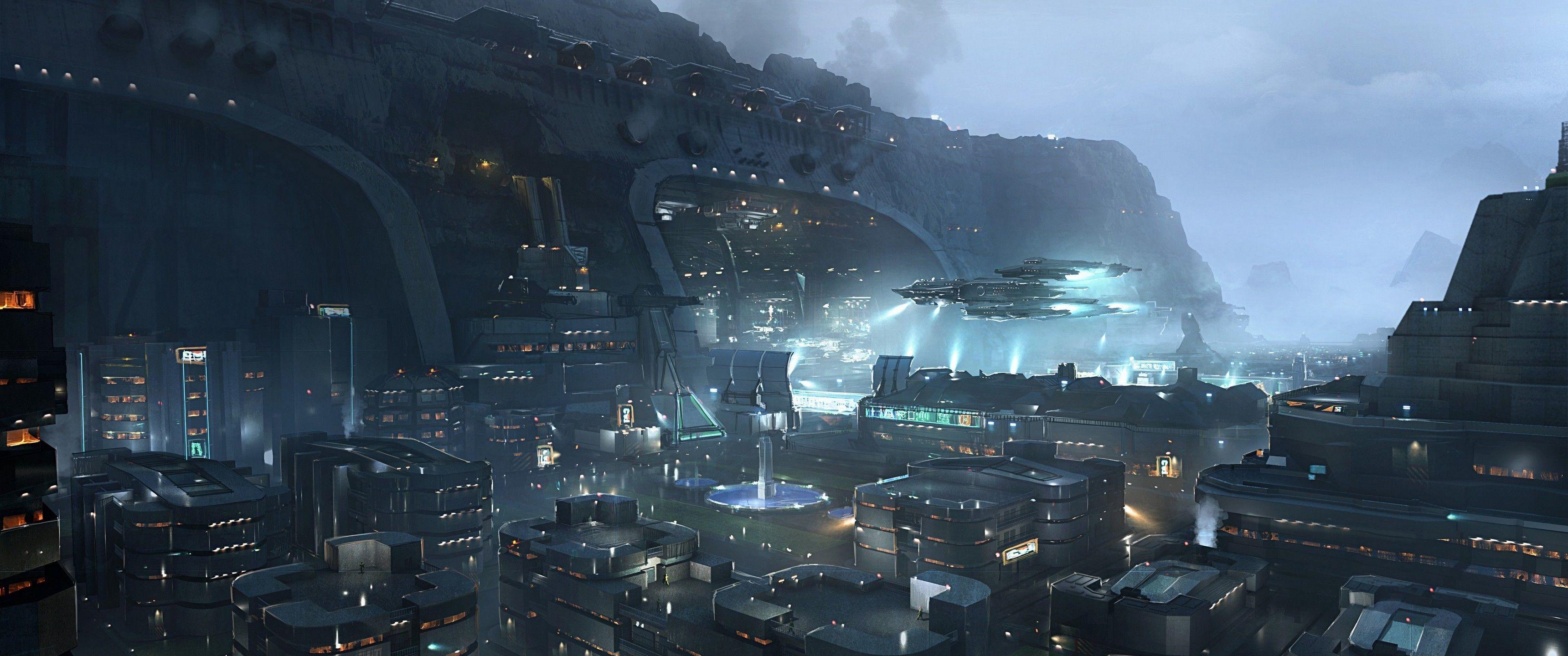 Inspirational 6880 X 1440 Wallpaper Environnement De Science Fiction Ville Cyberpunk Art Cyberpunk