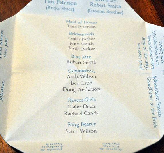 Wedding Program Cootie Catcher Custom Printable Decoration Invitation Personalized Party Favor Chevron Diy Origami Ceremony 10 00 Via Etsy