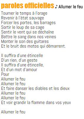 Allumer Le Feu Paroles : allumer, paroles, Paroles, Chansons, Français,,