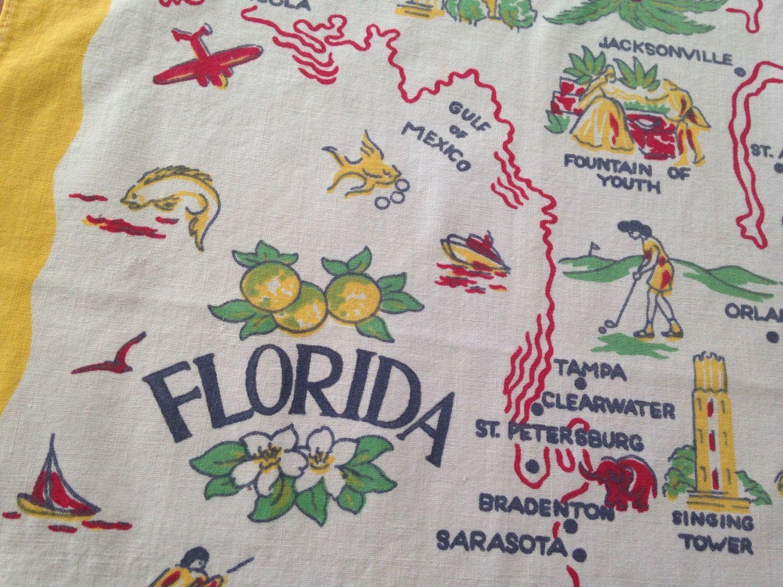 FLORIDA, Vintage 1950s Linen Tea Towel   Dish Towel, Retro Kitchen,  Souvenir State