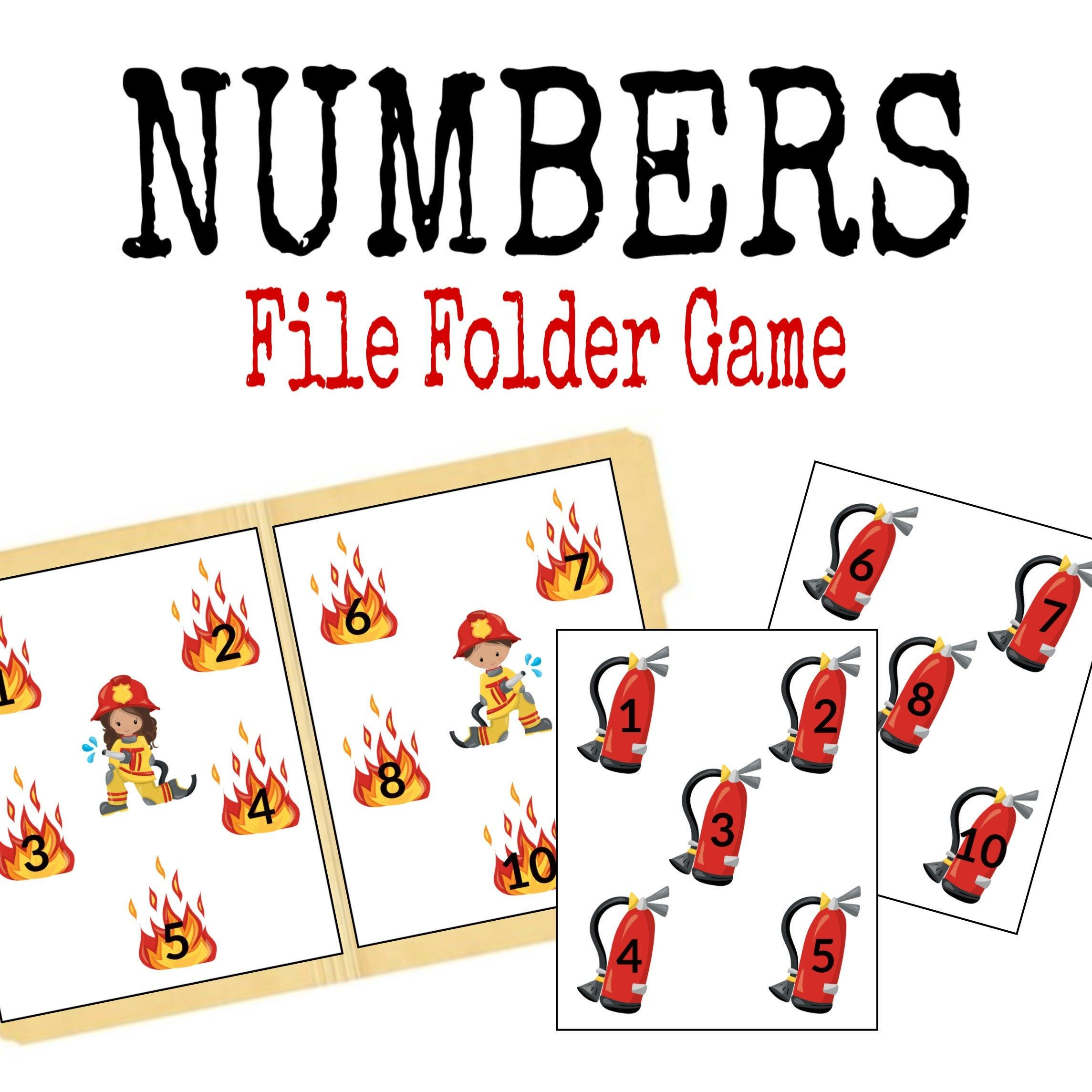 Firefighter File Folder Game Learning Activity Printable