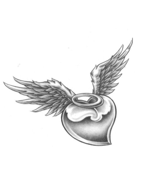 Black Angel Wing With Broken Halo Tattoos Heart With Halo And