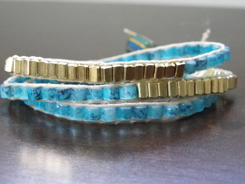 Turqoise and Gold Wrap Bracelet Ocean Beach Necklace. $27.00, via Etsy.