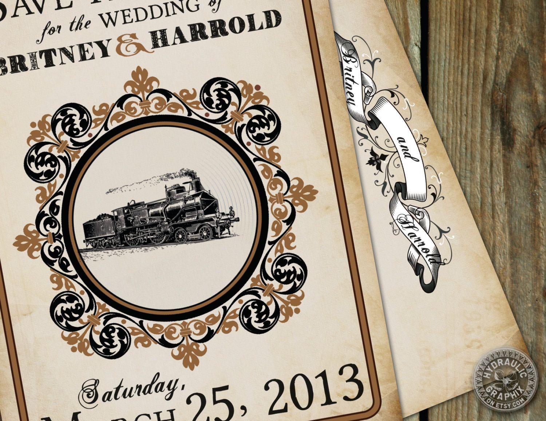 Train Save The Date Postcard Steampunk Wedding Printable Postcard