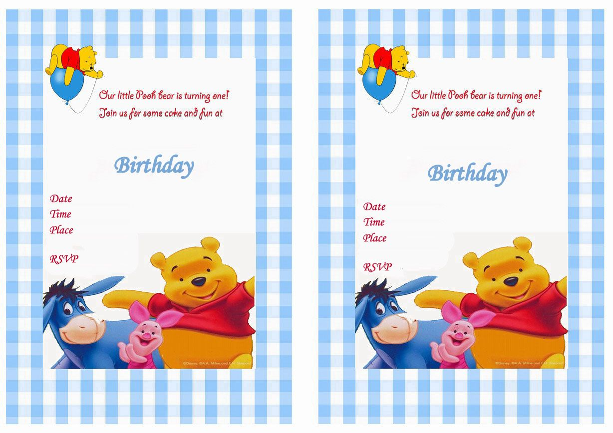 Birthday By Theme Pooh Invitation Bear Invitations Winnie The Pooh Birthday