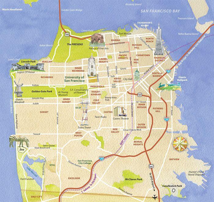 usf_sf_map | San Francisco | California attractions, San ...