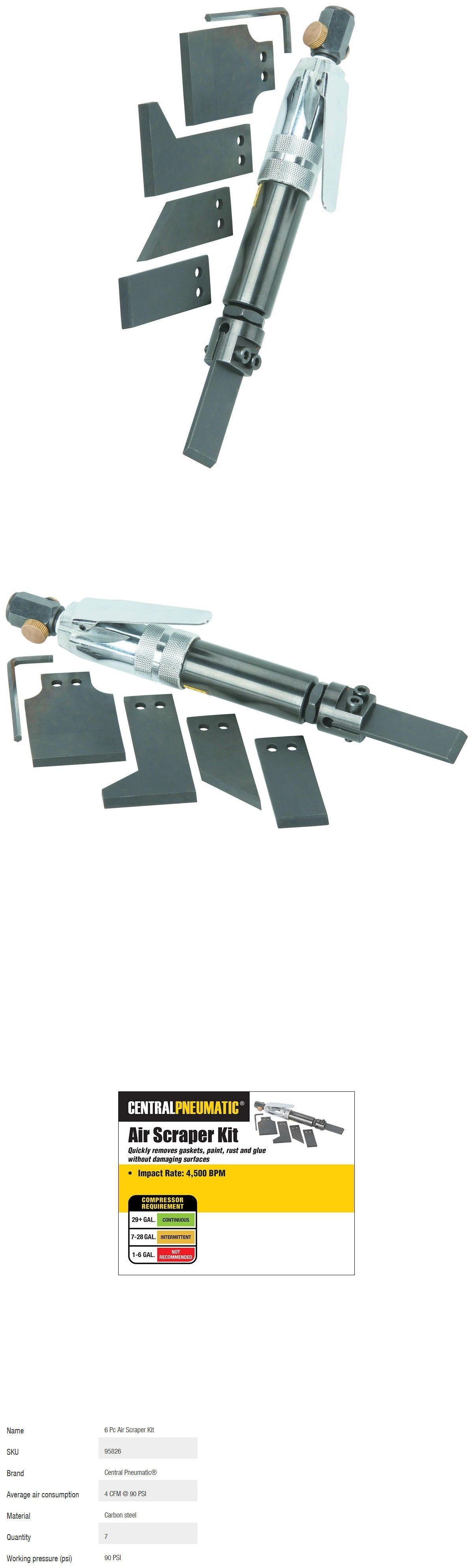 Remove Glue Paint Rust Gasket Air Scraper Set 6 Pc Pneumatic Kit Regulator