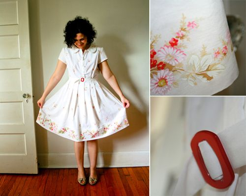 Fantastic dress out of an old sheet - gorgeous!Love the pleats and the border... sadly  there's no link to her blog :/