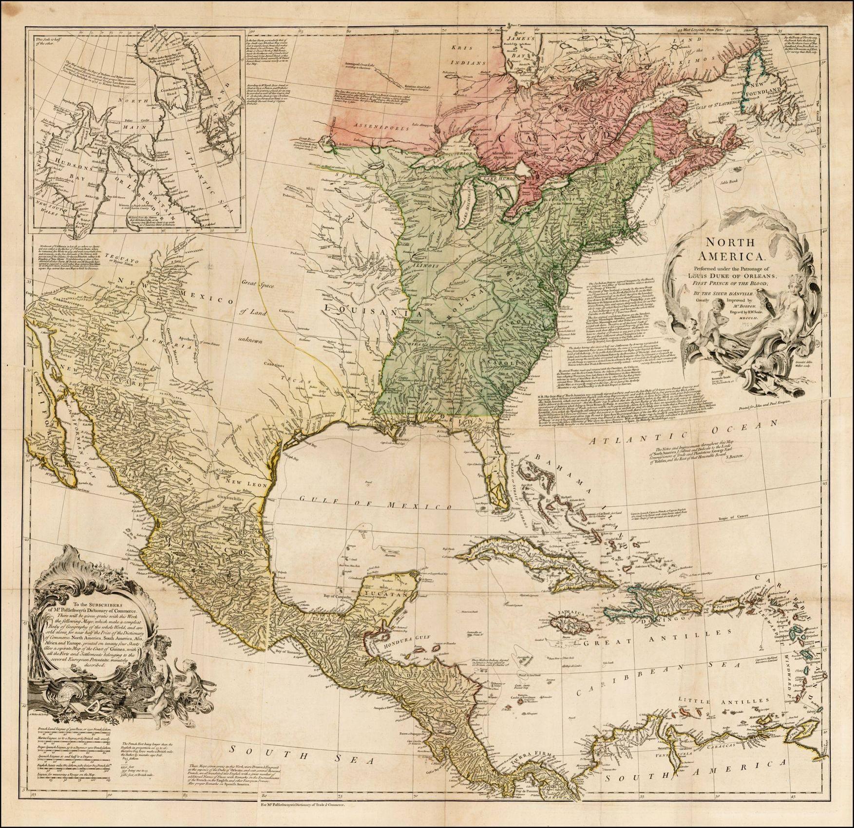 Title north america performed under the patronage of louis duke of map maker rw seale place date london 1752 coloring hand colored size 335 x 325 inches gumiabroncs Image collections