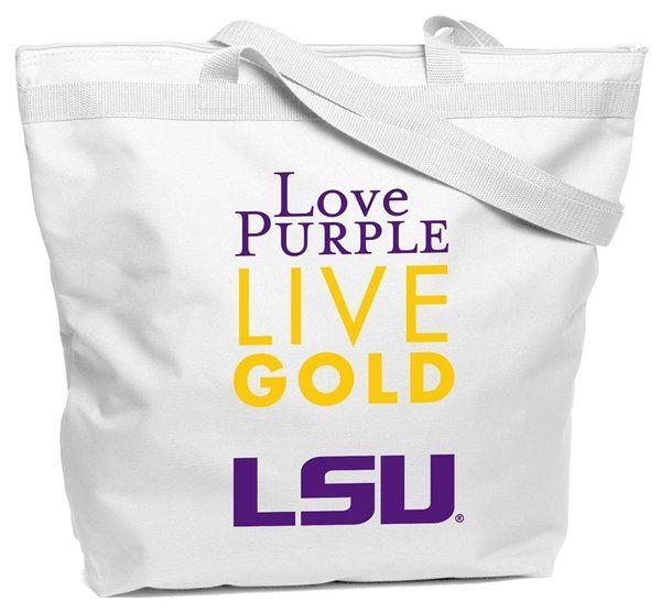 Love Purple Live Gold LSU Tigers Zipper Tote