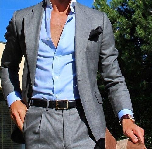 Grey suit open light blue dress shirt great business for Blue suit grey shirt