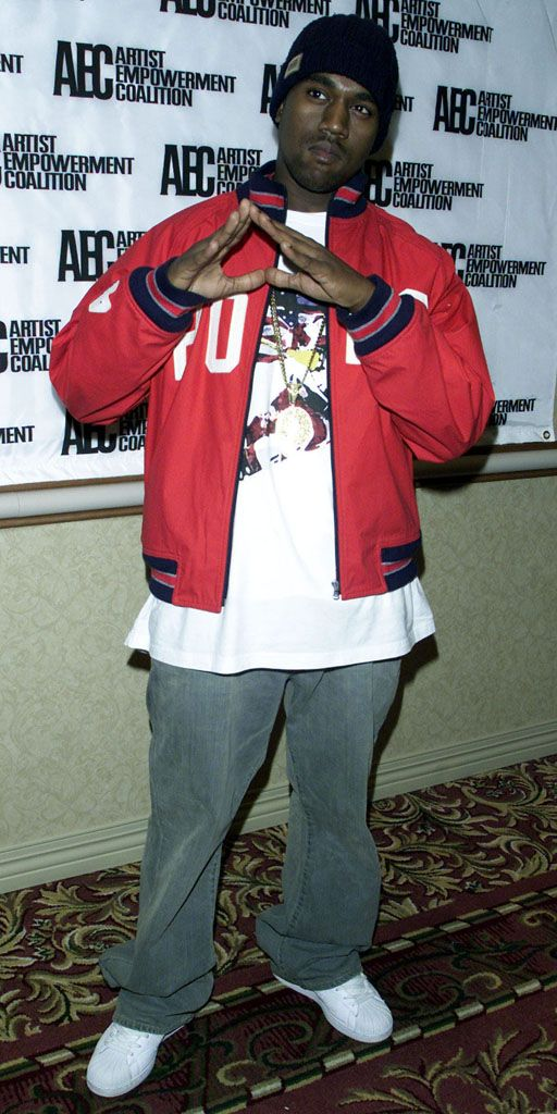 Kanye seen here in 2003 wearing a Polo varsity, paired with
