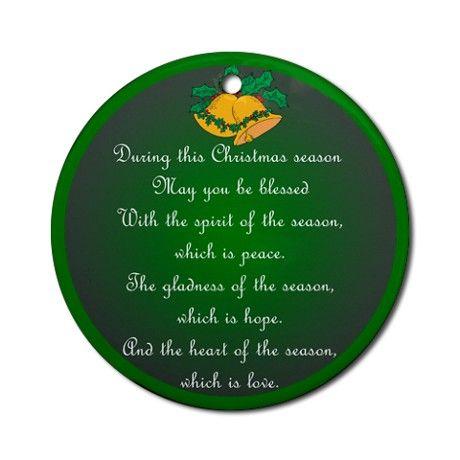 Irish Christmas Blessing.Beautiful Seasonal An Irish Christmas Blessing Ornament
