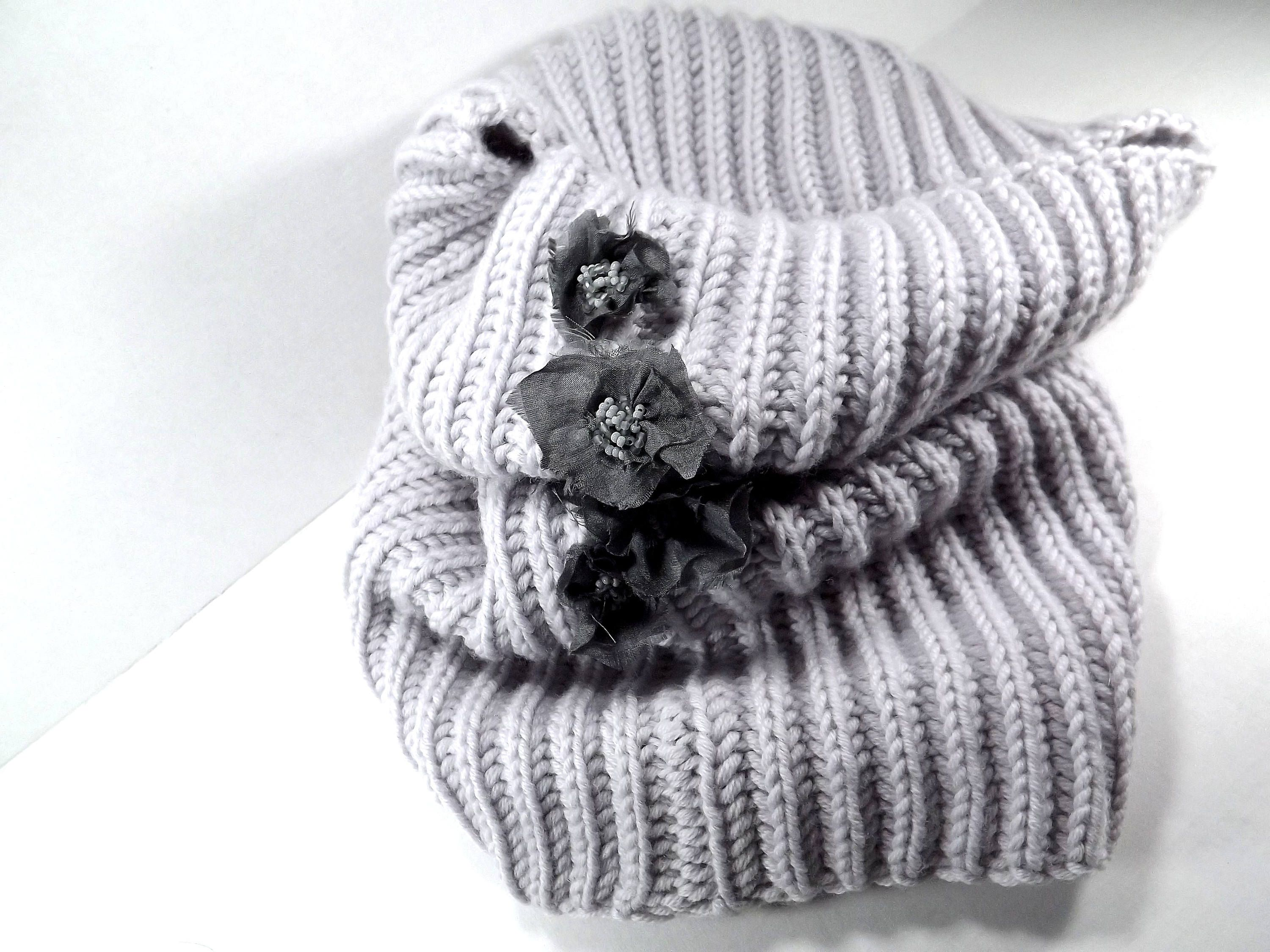Knitting Loop Scarf : Merino grey hand knitted loop scarf with silk flowers