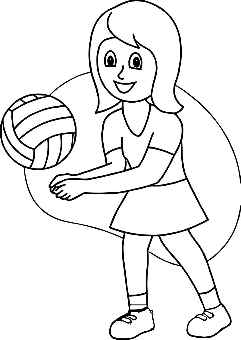 Girl Playing Volleyball Good Coloring Page   Sports ...