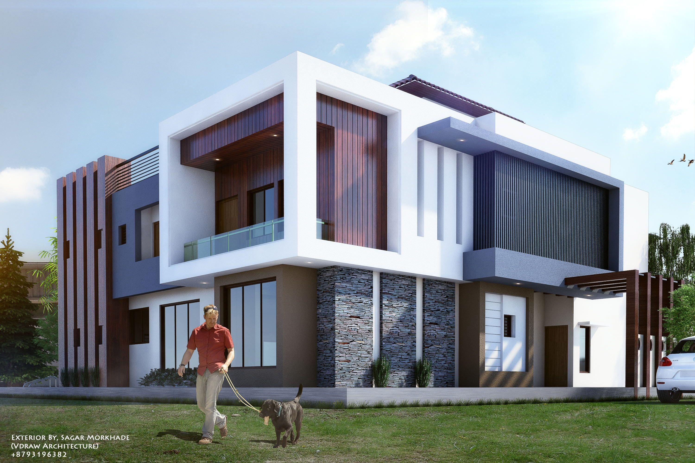 Exterior by sagar morkhade vdraw architecture for Case moderne contemporanee