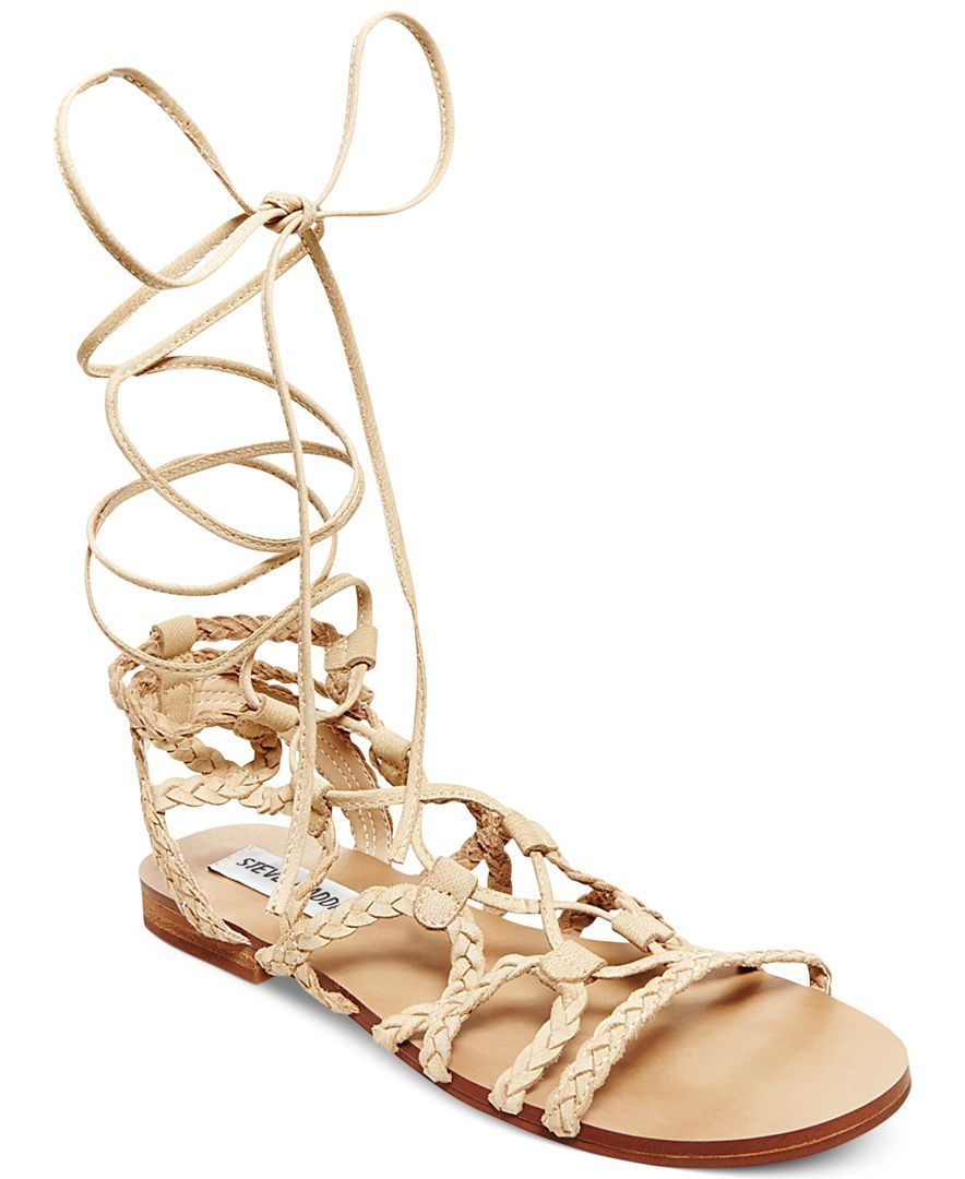 f393d5e2e15 Steve Madden Women s Swyvel Lace-Up Ankle-Tie Gladiator Sandals ...