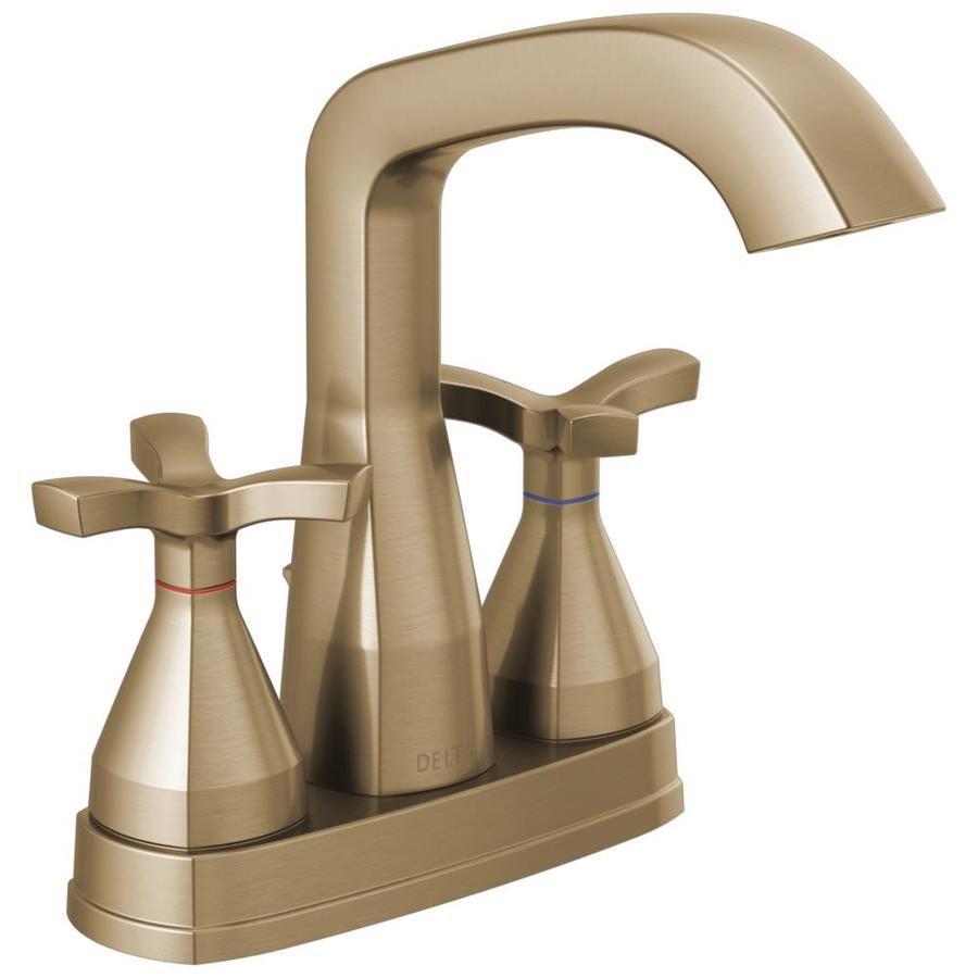 Delta Stryke Champagne Bronze 1 Handle 4 In Centerset Watersense Bathroom Sink Faucet With Drain Delta Faucets Bathroom Faucets Faucet Repair