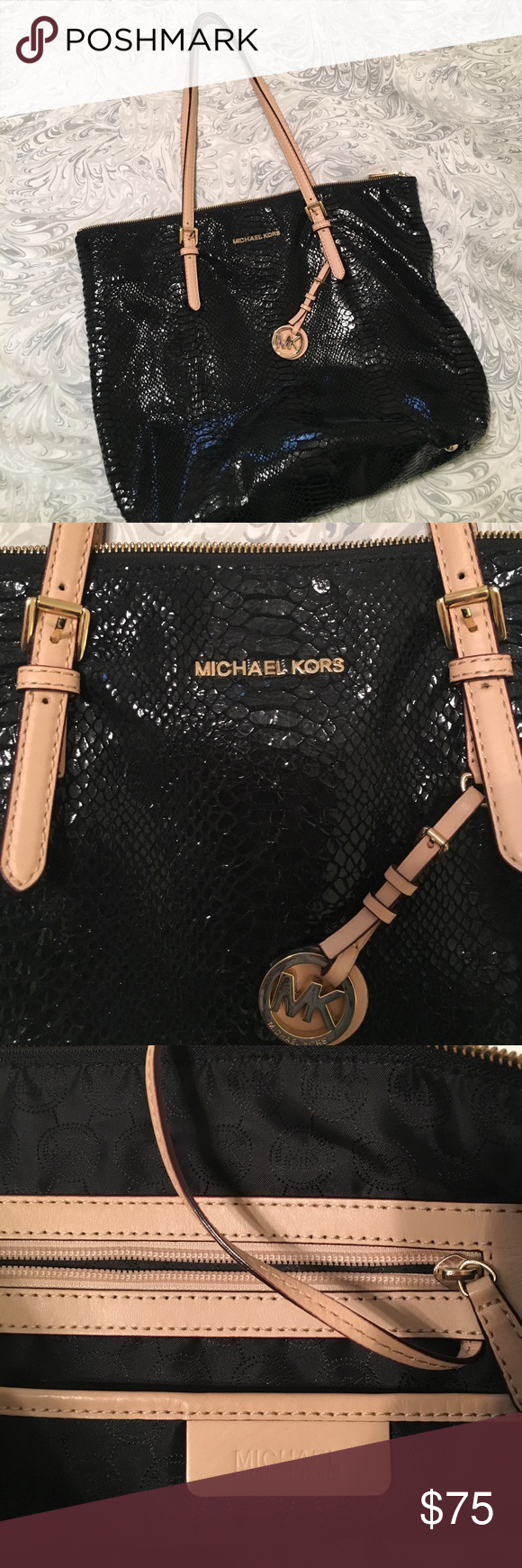 2435e56e1d92 ... denmark michael kors black python jet set tote like new condition  authentic mk purchased from 6fca3