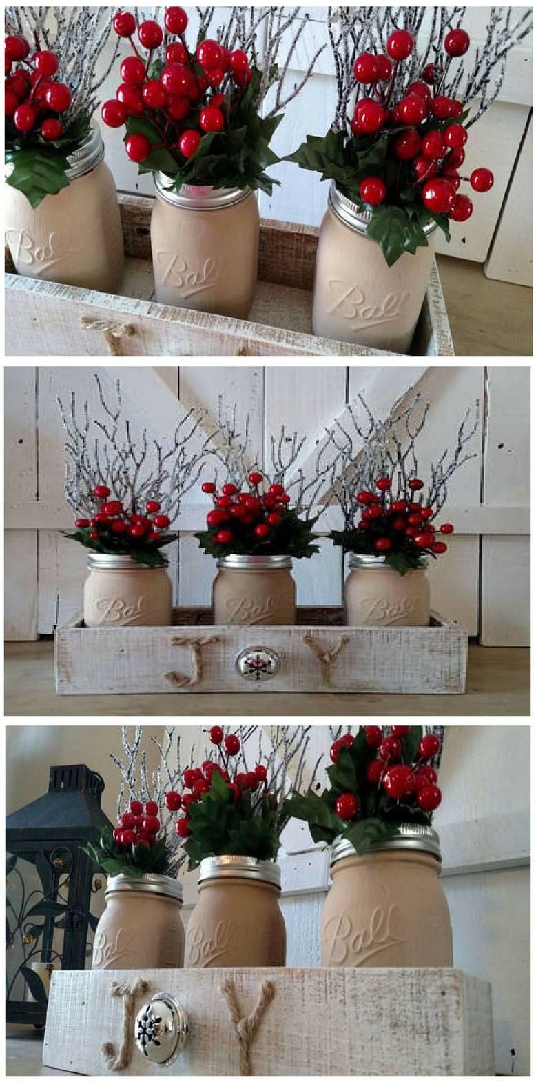 such a stunning mason jar christmas centerpiece perfect for decorating your farmhouse inspired christmas home